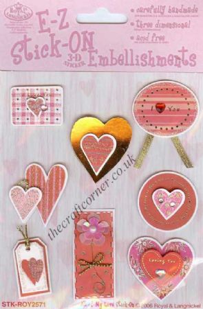 All Of My Love Pink & Red Love Heart Embellishments